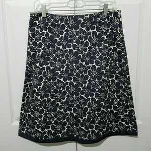 Boden Gray Floral Cotton A Line Skirt Size 12R